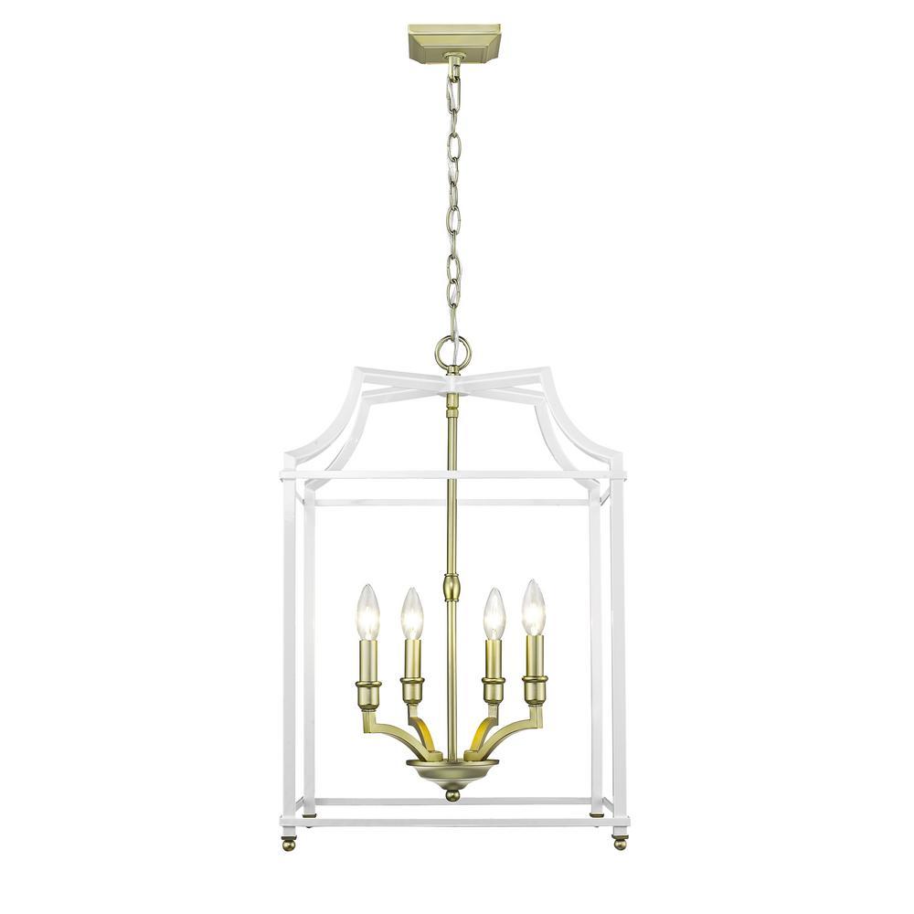 Golden lighting leighton light satin brass and white pendant light