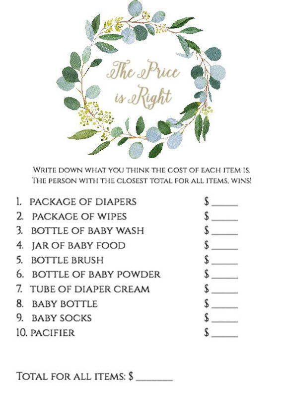 Greenery The Price Is Right Game Template Greenery Baby Etsy In 2021 Price Is Right Games Baby Shower Printable Baby Shower Games