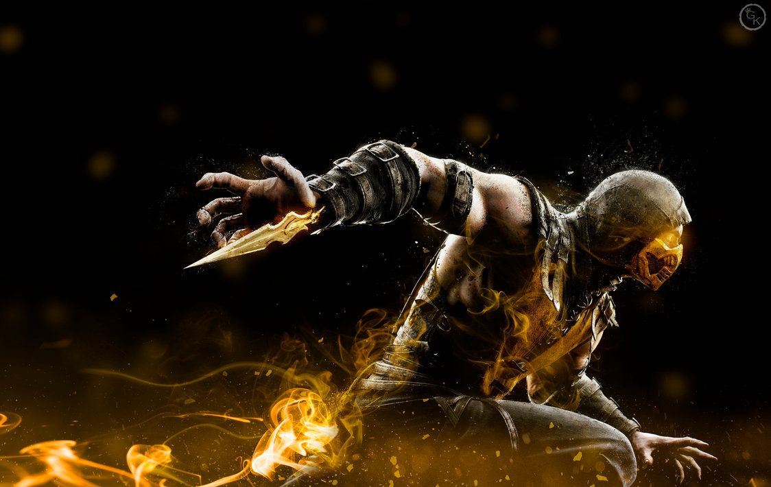 mortal kombat scorpion wallpapers wallpaper | vinilo mando arcade
