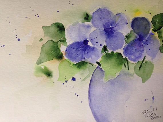 Individual watercolour, Hand painted.   Dimensions: 17cm x 24 cm Watercolor on 300 g / qm paper only artist paints are used.  signed and dated on the front.  Please note that there may be variations due to the digital photography or Bilschirmauflösung.