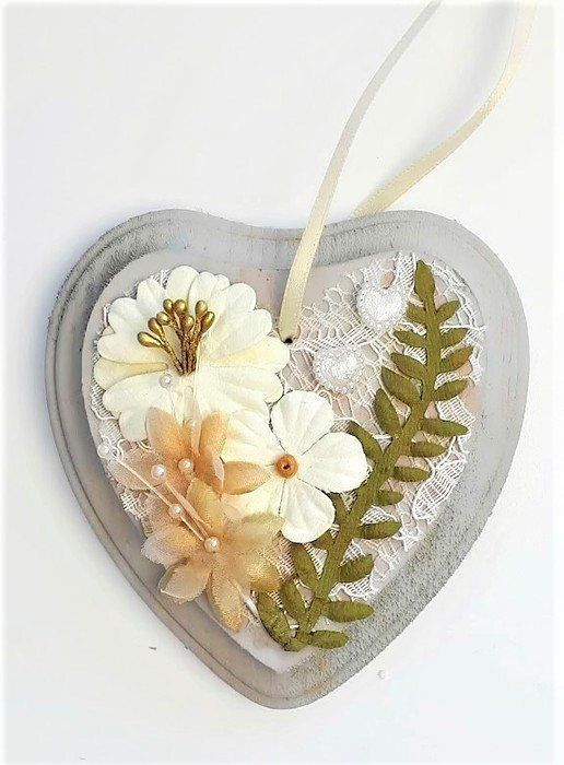 Cream and green flower heart Mothers Day gift Mothering Sunday gifts for mom
