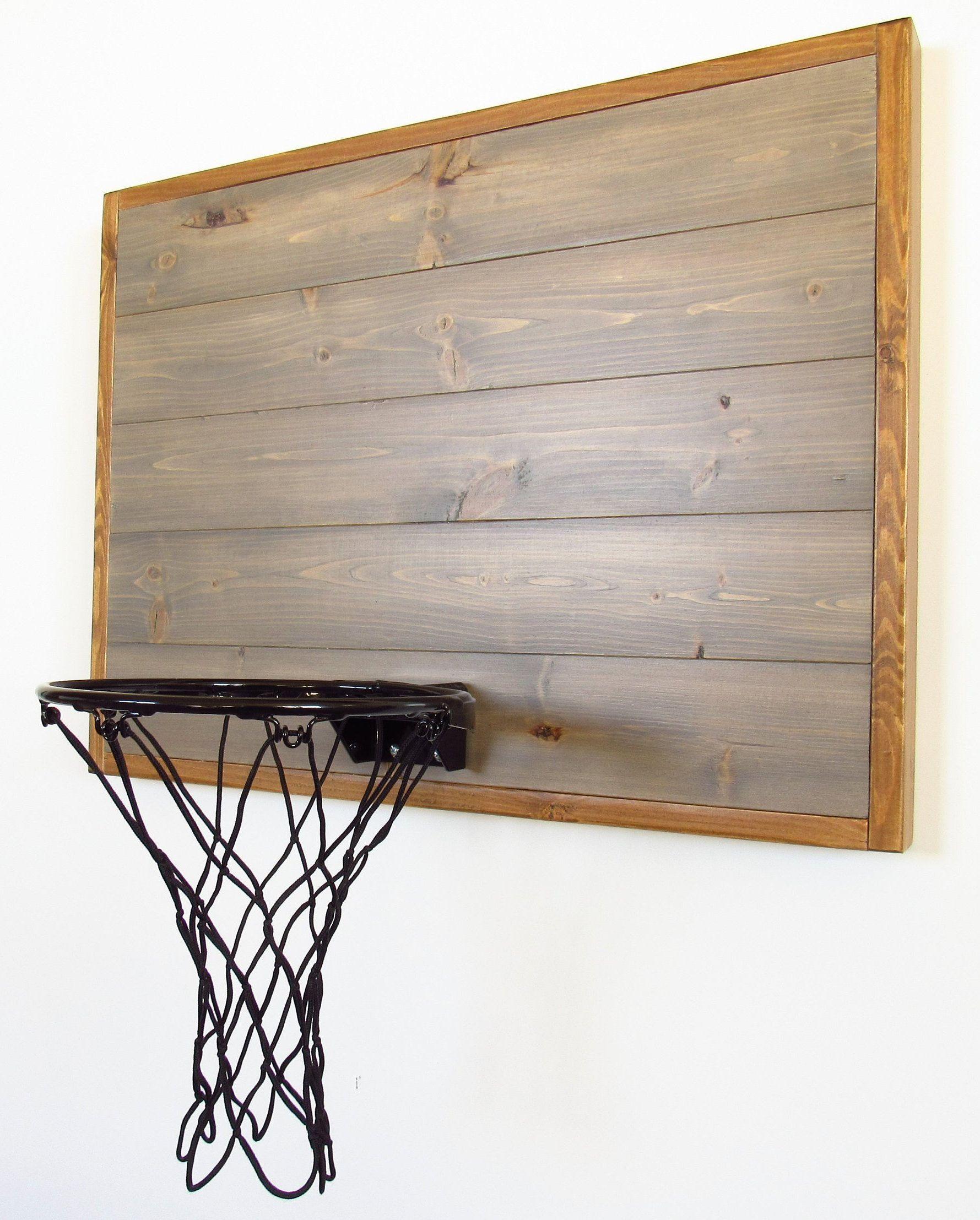 Wood Basketball Hoop Wall Mount Gray And Brown Mini Goal