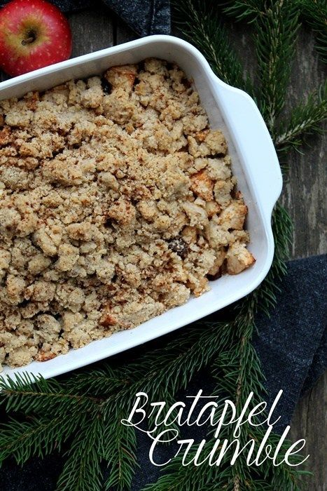 Photo of Baked Apple Crumble • Chocolate focus and sugar pearl