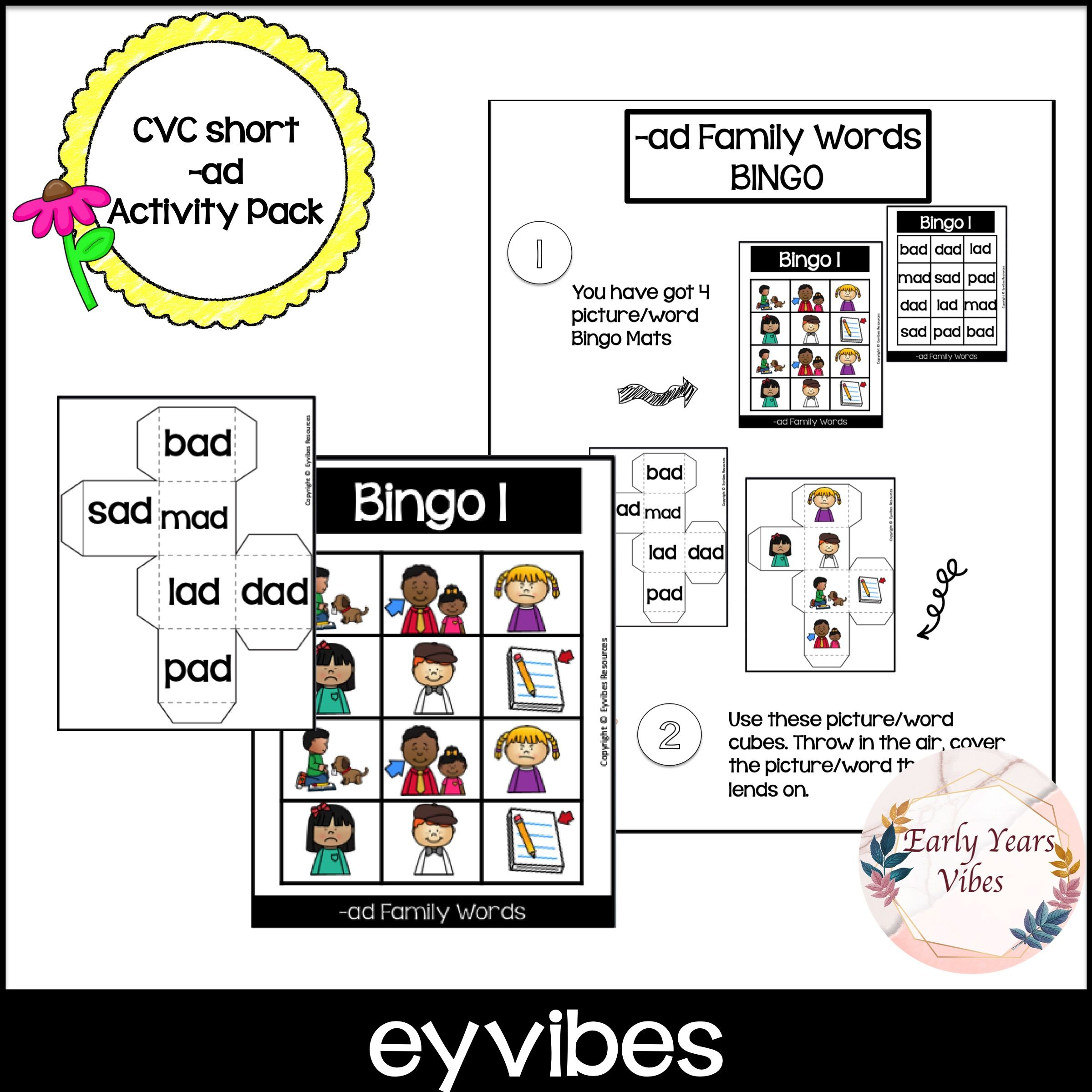 Cvc Ad Word Family Activity Pack In With Images
