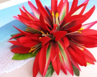 Tropical silk flower hawaiian hair clip 43