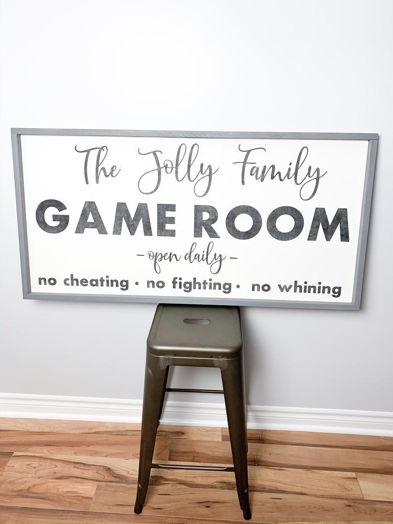 Custom Family Game Room Statement Wall Art Last Name Sign Etsy In 2020 Game Room Family Small Game Rooms Game Room Basement