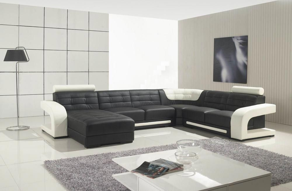 Modern Black And White Leather Corner Sofa Ebay Leather Corner Sofa Corner Sofa Sofa Ebay