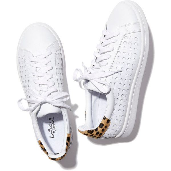 Loeffler Randall Zora Perforated Sneaker Goop ❤ liked on Polyvore featuring shoes, sneakers, cheetah print shoes, leather trainers, leather sneakers, cheetah shoes and white leather shoes