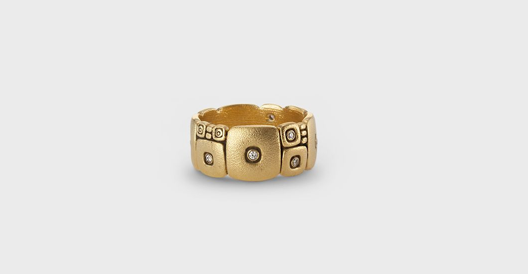 """R-120, 18k gold and diamond """"Temple Wall"""" band (9mm wide) $3,795.00"""