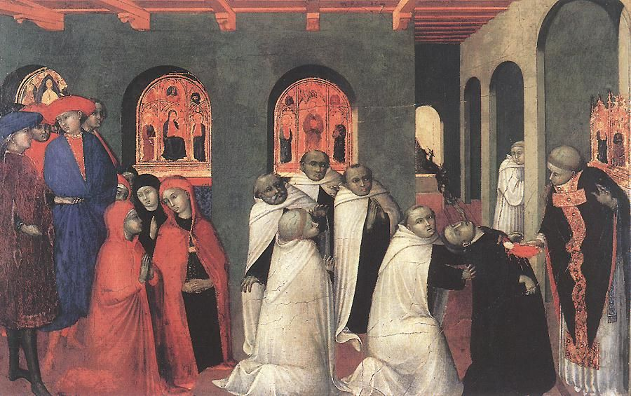 A Miracle of the Eucharist by Stefano di Giovanni Sassetta (circa 1425) Bowes Museum, Barnard Castle, England. To the right, a Carmelite lay brother has been struck dead, and just above him, a devil is carrying away his soul. The consecrated Host is bleeding, indicating perhaps that the lay brother had doubted the real presence of Christ in the Eucharist.