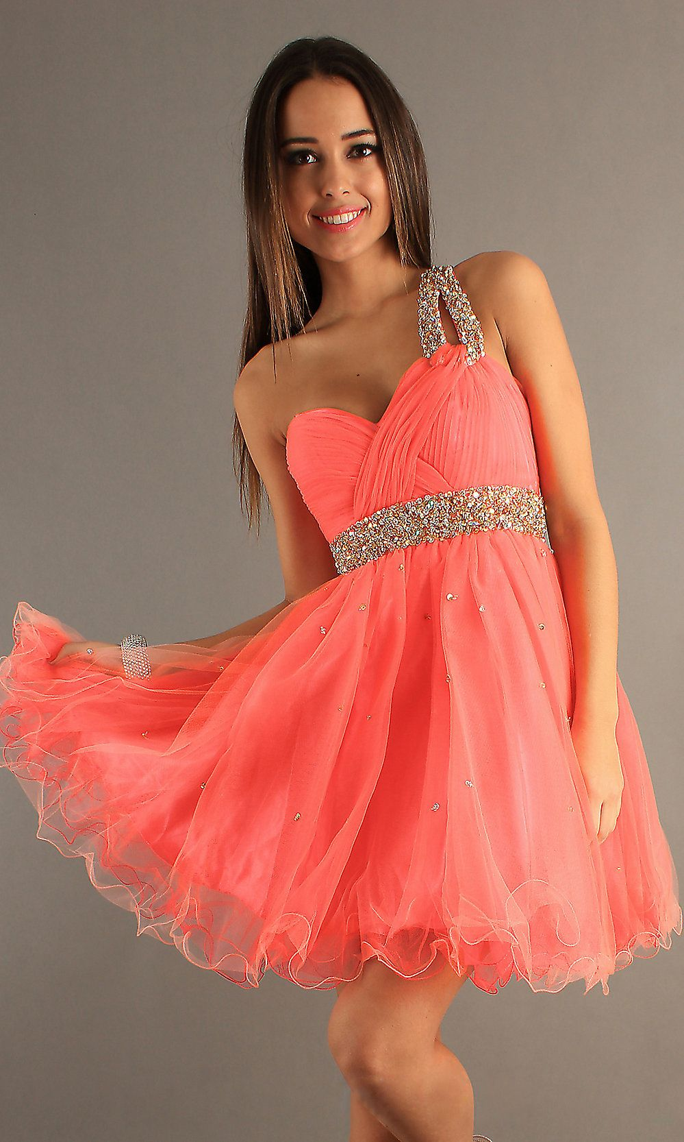 Coral Pleated Sequined Dave & Johnny 6726 One Shoulder Dress ...