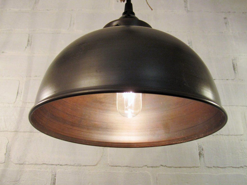 Classic Dome Shade 3 Socket Vanity Light: Metal Oil Rubbed Bronze Dome Pendant Light In 2019
