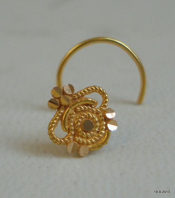 18k traditional design gold nose stud by indiantribaljewelry