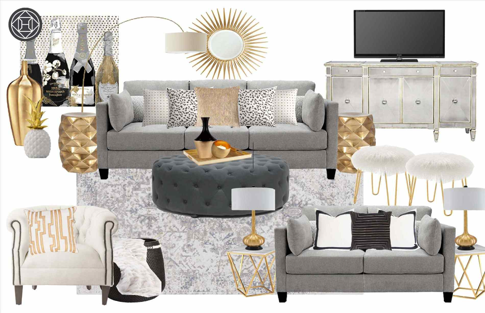 Living Room Grey Ideas Gold Decor Modern Gray Paint And ...