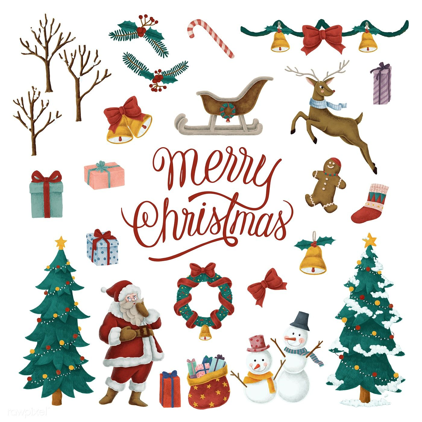 Set of hand drawn Christmas illustrations | free image by rawpixel ...