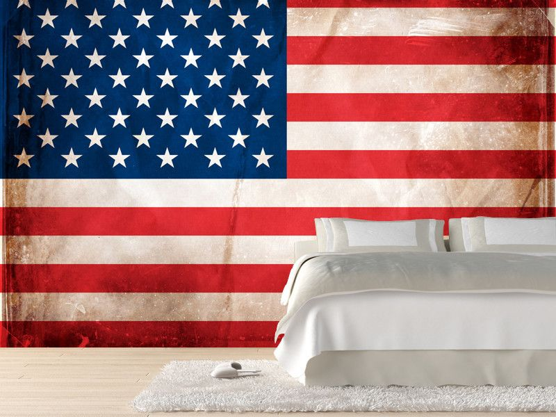 Vintage American Flag Wall Art vintage american flag wall mural | wall murals, flags and custom