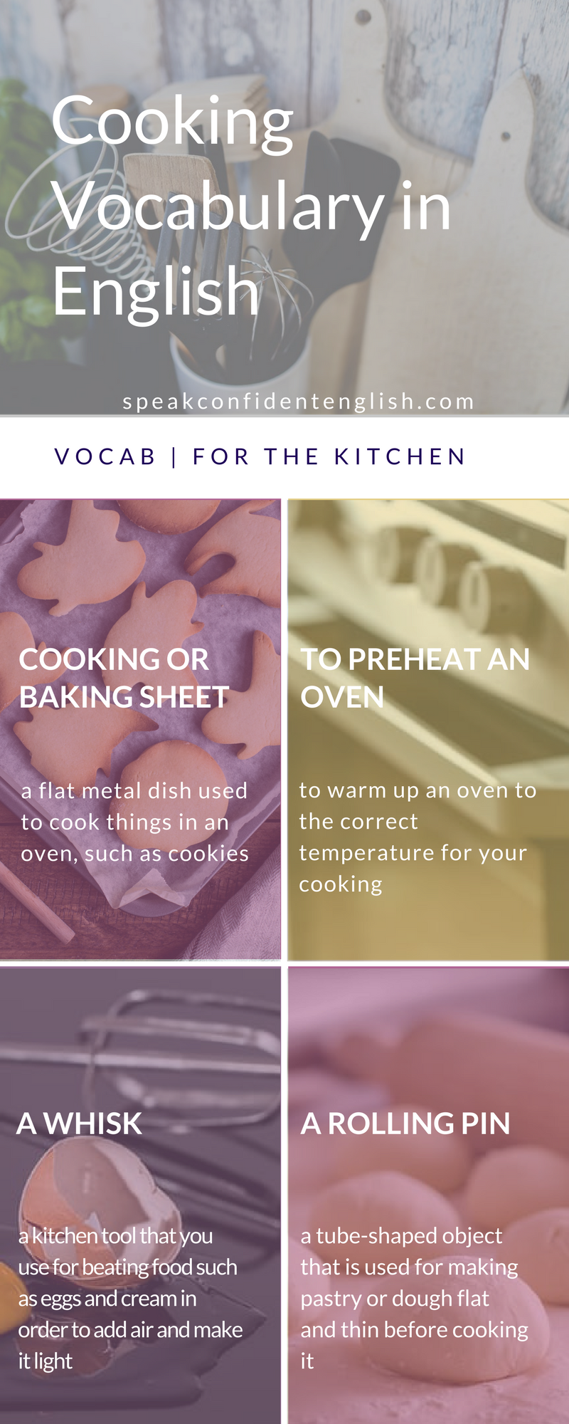 Do you love cooking too? Good news! You can practice English, build your vocabulary and make something delicious at the same time.  Join me in my kitchen for a lesson on baking plus my favorite recipe for cookies (they're great for any day, not just the holidays). You can get that lesson and boost your English vocabulary for the kitchen here…