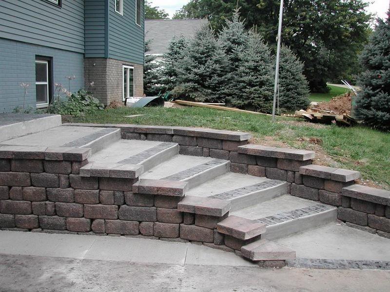 Stone Front Steps Landscaping Ideas Hardscape Design Concrete Decor