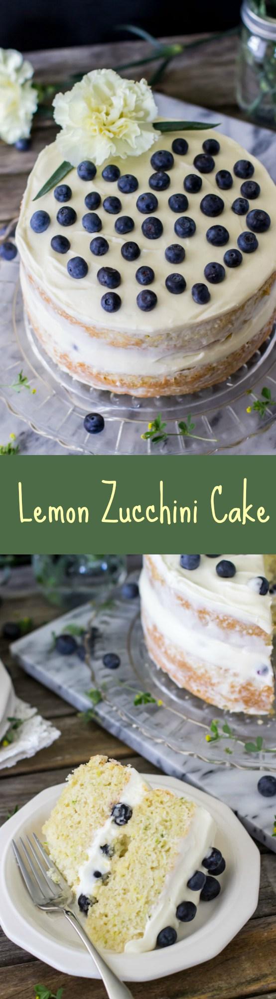 Layered Lemon Zucchini Cake -- SugarSpunRun
