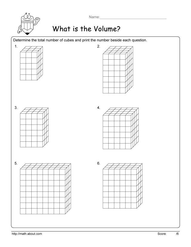 Volume Cube Worksheets | Worksheets, Math and Geometry worksheets