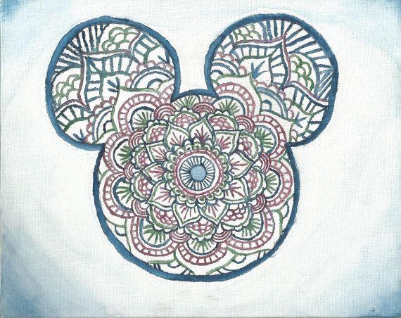 Mickey Mouse Mandala Print Tattoos Henna Art Therapie Coloriage