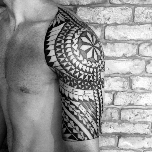 50 Polynesian Half Sleeve Tattoo Designs For Men Tribal Ideas Half Sleeve Tattoo Tattoo Designs Men Half Sleeve Tattoos For Guys