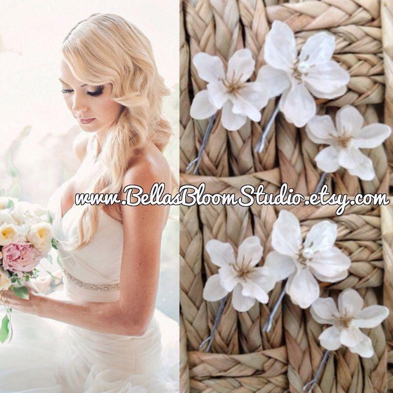 White hair flower bridal hair clips white hair pinswedding hair flower white hair flower bridal hair clips mightylinksfo
