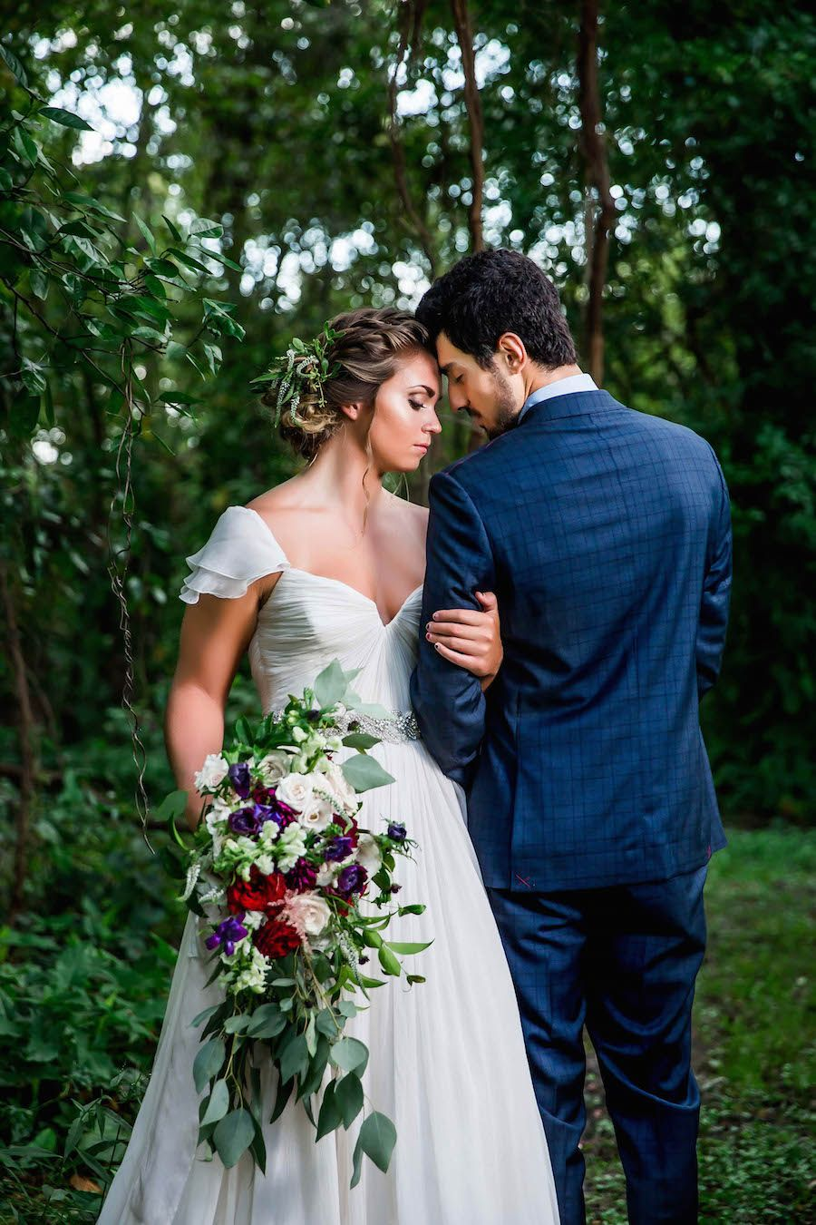 Instead of throwing the bouquet im going to hand each of the bride wearing amsale wedding dress from blush bridal sarasota and groom portrait with deep red burgundy ombrellifo Choice Image