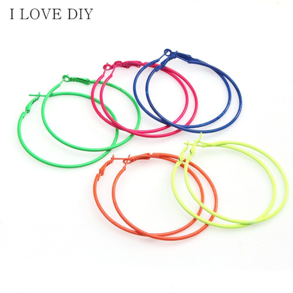 Lot Fashion Candy Colored Metal Hoop Charm Basketball Wives Earrings  For Diy Earrings Making
