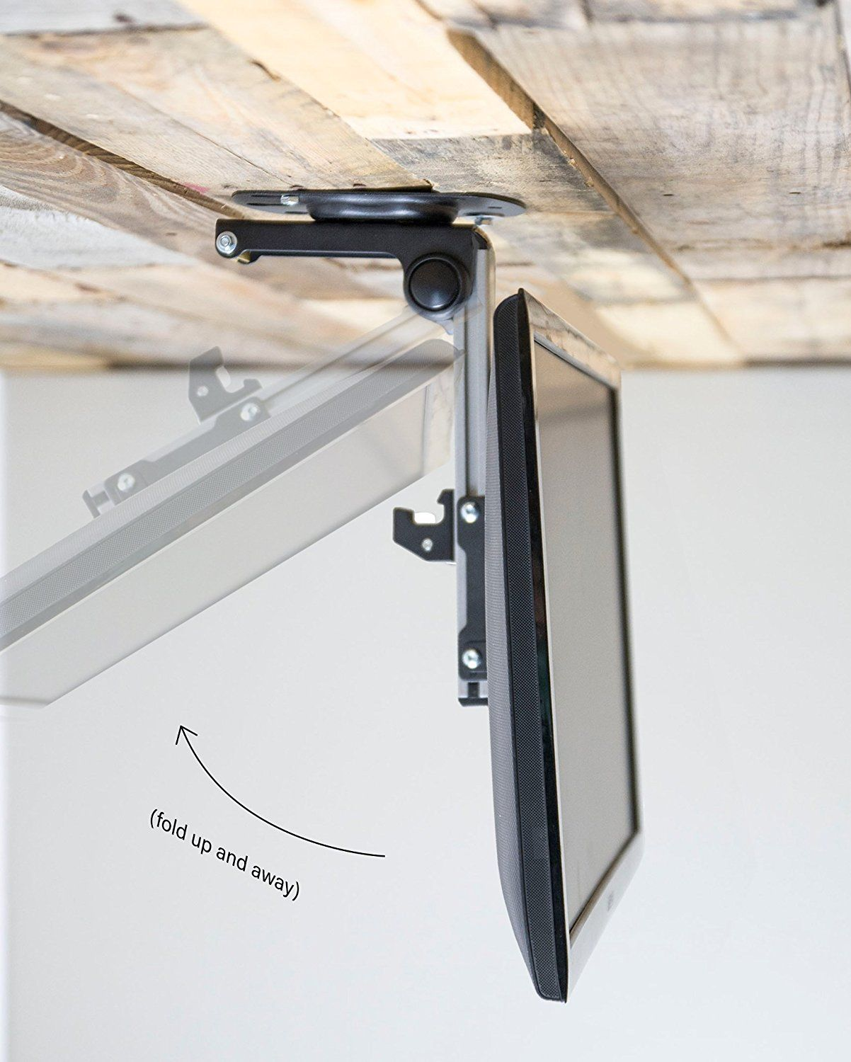 Vivo Manual Flip Down Under Cabinet Mount Folding Tilt Pitched Roof Ceiling Mounting For Lcd Flat Tv Monitors 17 To 37 M Fd37 Home