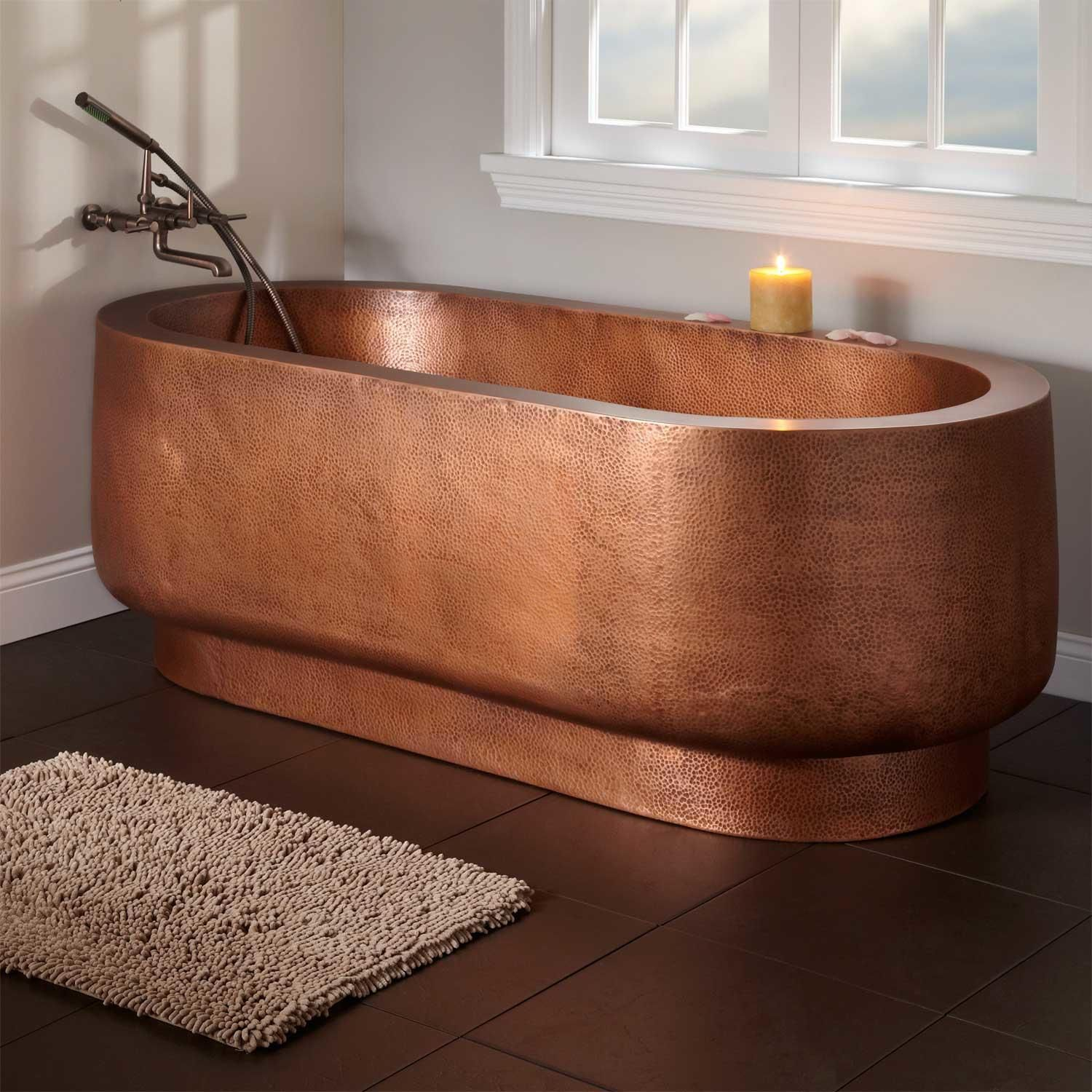 72 Teshio Double Wall Hammered Copper Tub No Faucet Holes Copper Tub Hammered Copper Tub Tub