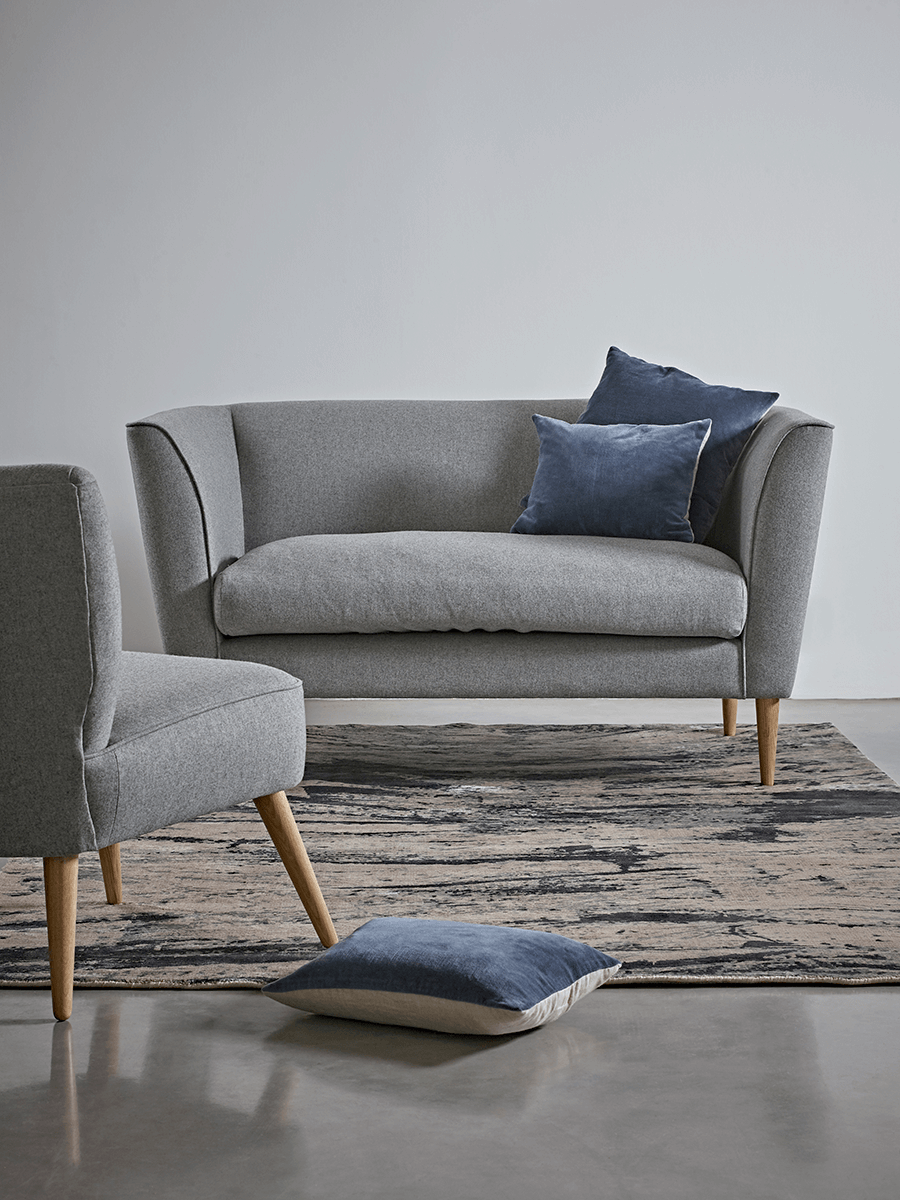 Handmade In The Uk With A Solid Birch And Beech Hardwood Frame Our High Quality Occasional Sofa Is Finished Soft Grey Flatweave Cotton Four