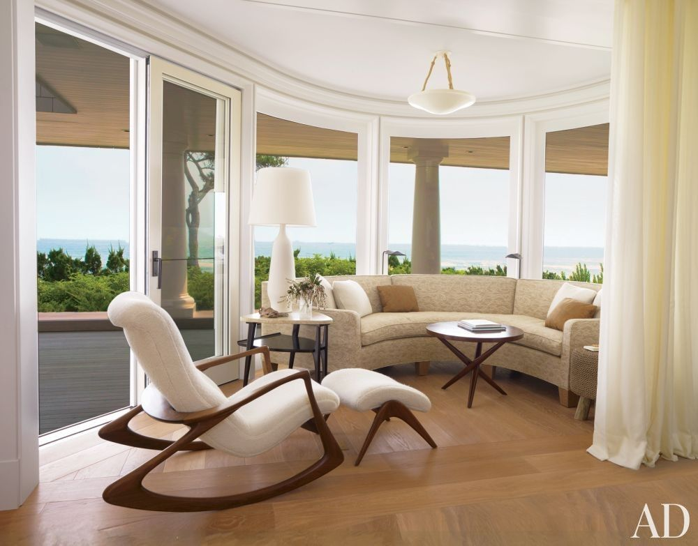 The Vladimir Kagan Chair And Ottoman Beach Living Room By Thierry Despont Ltd In East Hampton New York