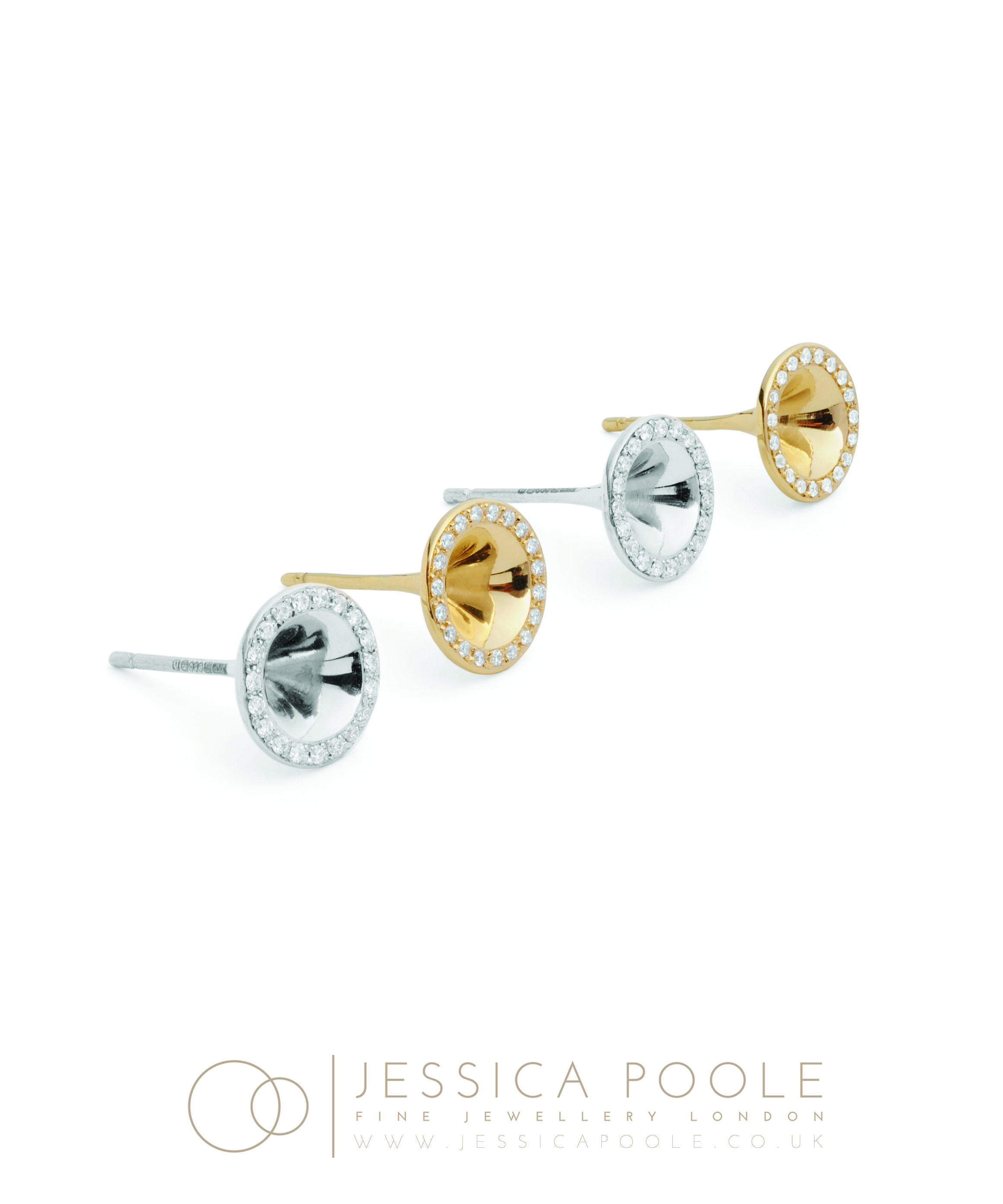 """Mini Trumpets"""" Platinum & 18ct Gold Diamond Stud Earrings side"""