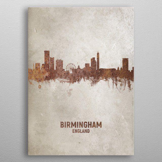 Birmingham Rust Skyline by Michael Tompsett   metal posters - Displate   Displate thumbnail