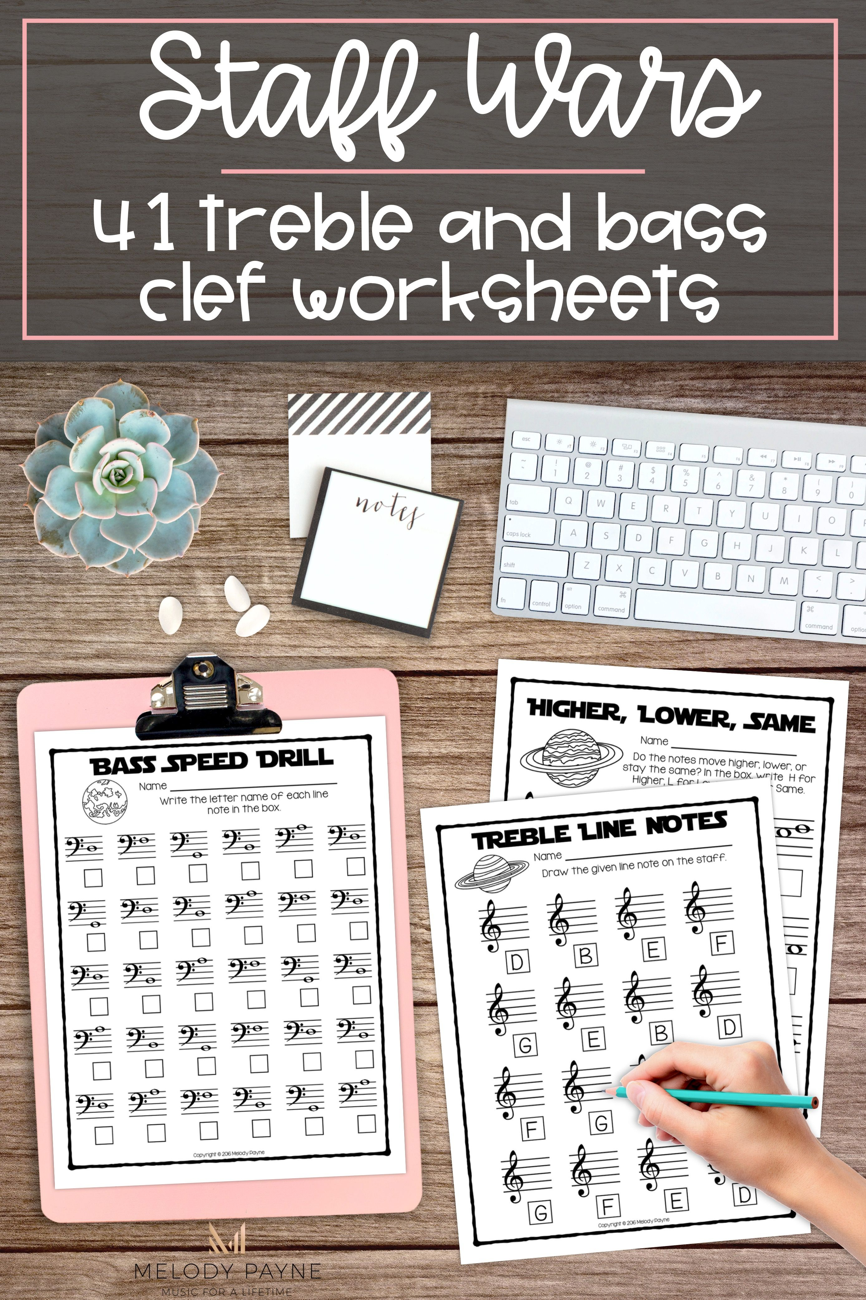 Staff Wars Music Worksheets 41 Print And Go No Prep