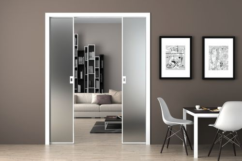Puerta corredera doble vidriada con marco de aluminio vela - Puerta corredera doble ...