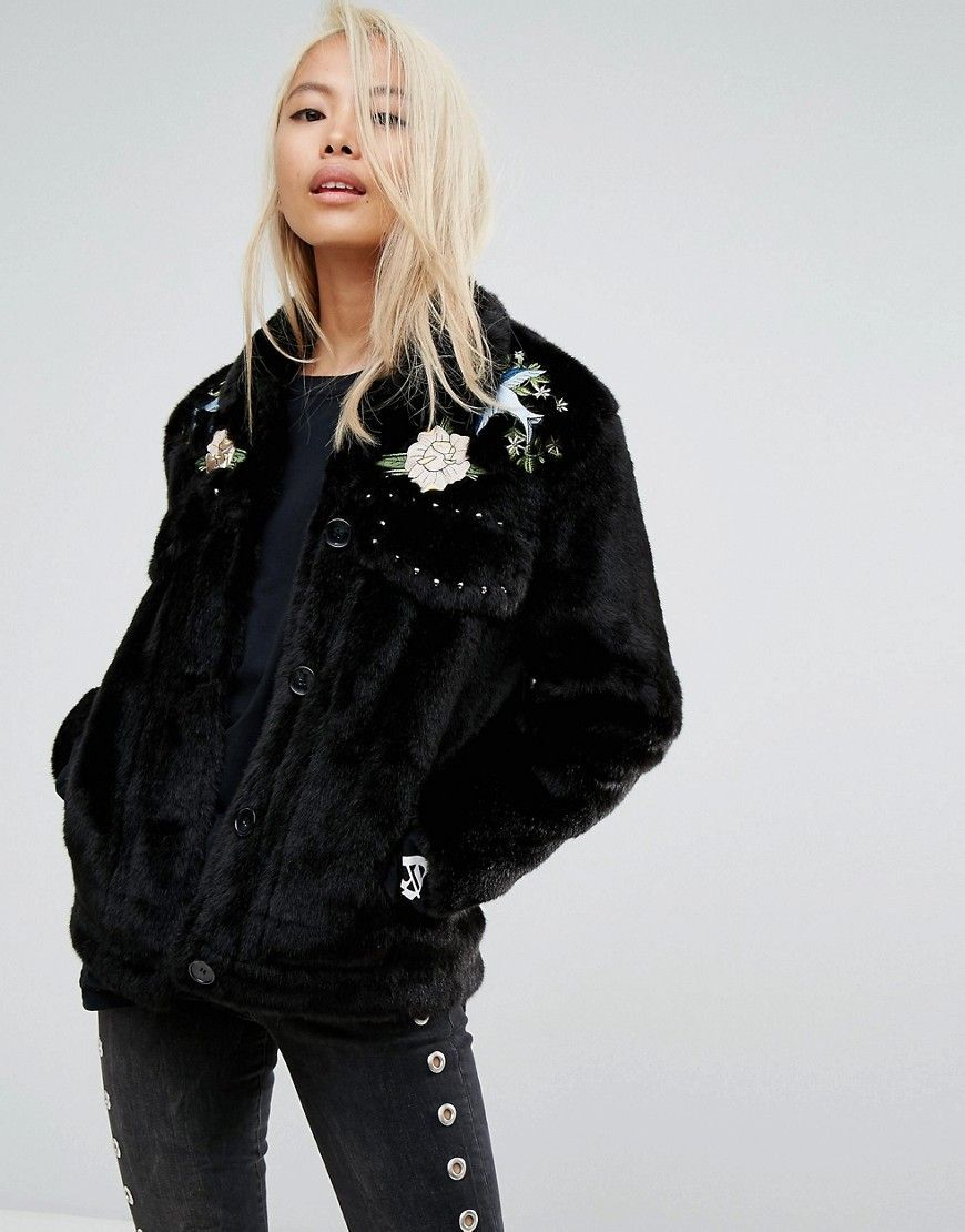 1990s Vintage Cropped Black Wool Fringed Western Jacket - Leathe