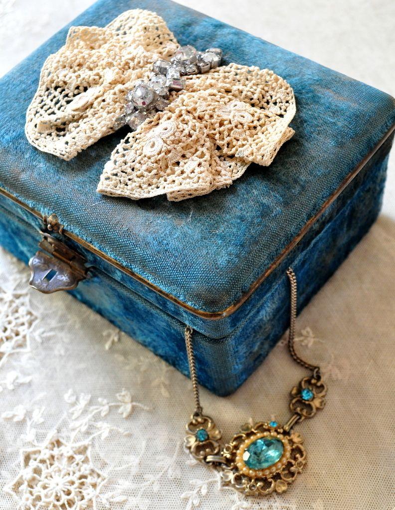 victorian boudoir art deco french blue velvet jewelry box Irish lace