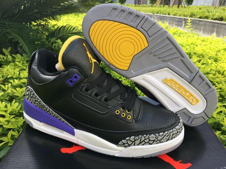 Air Jordan 3 Black Cement Purple/Yellow