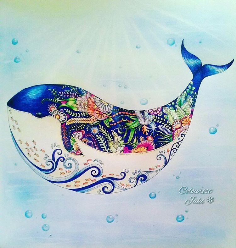Jaki21x On Instagram Lost Ocean A Happy Little Whale Lostocean Johannabasford Colour Lost Ocean Coloring Book Lost Ocean Johanna Basford Lost Ocean