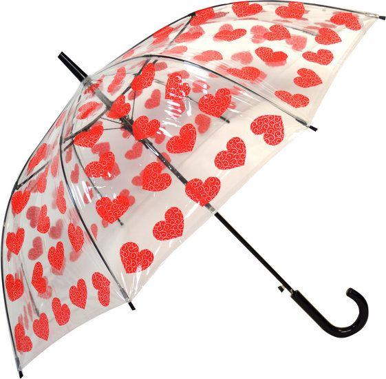 Durchsichtiger Regenschirm mit Herz Motiv
