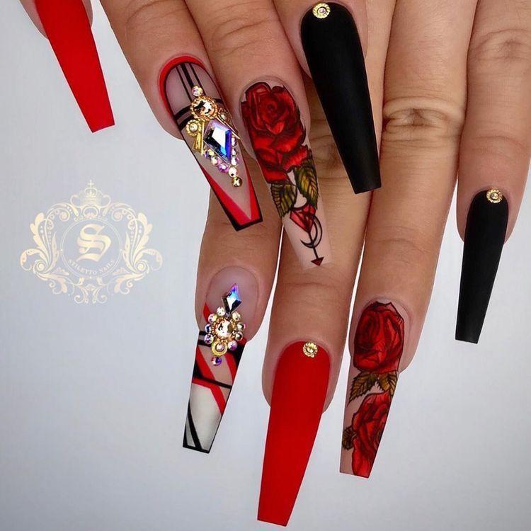 Nails Rose Nail Art Rose Nails Stiletto Nails Designs