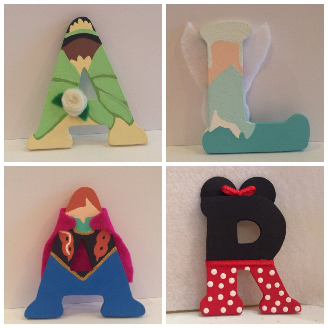 Wooden letters for crafts - Disney Wooden Letters Each Letter Is 3inches Tall Choose From Frozen Beauty Beast Minnie Winnie The Pooh Characters And More Girls