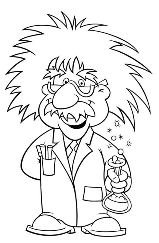 Albert Einstein Wore Glasses Coloring Page For Kids