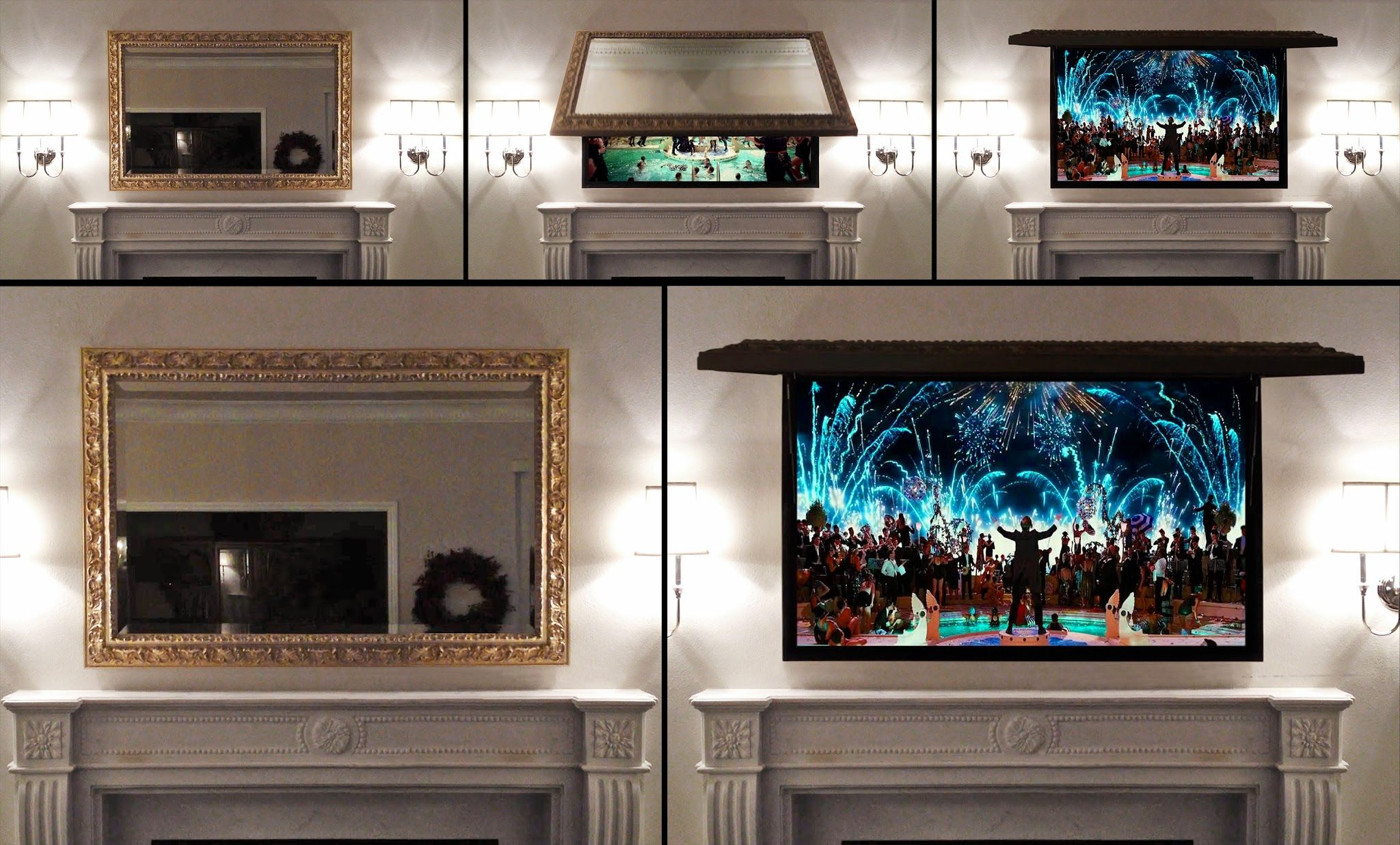Furniture Best Hidden Tv Cabinet Pictures Creative Wall Mounted Hide With Mirror Framed In Top Of Clic White Marble Fireplace And Minimalist Sconce