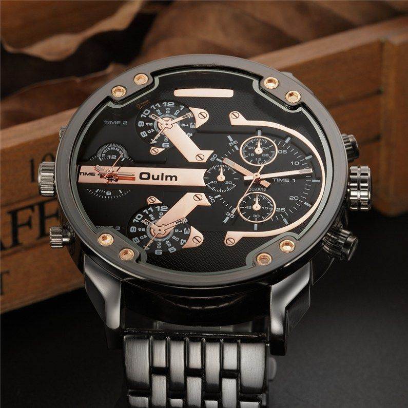 Oulm Male Military Watches Golden Oversized Big Quartz Watch