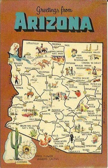 Vintage State Map Postcard Arizona State By Postcardsintheattic - Map of arizona