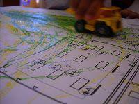 car tracks on blueprints