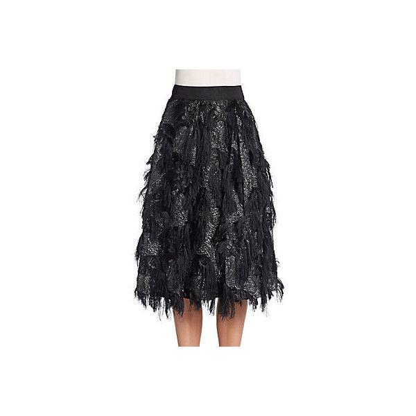 MILLY Eyelash Fringe Midi Skirt ($300) ❤ liked on Polyvore featuring skirts, black, black circle skirt, black knee length skirt, flared midi skirt, midi skater skirt and flared skirt